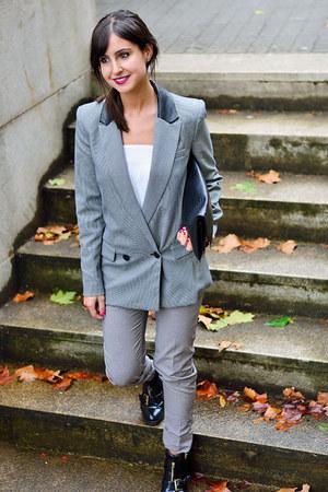 Mango blazer - asos boots - Mango pants - Bershka blouse