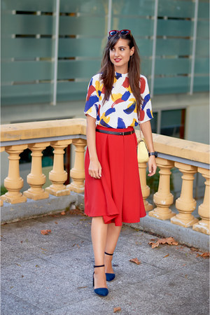 Forever 21 skirt - Mango glasses - Stradivarius heels - Sheinside top