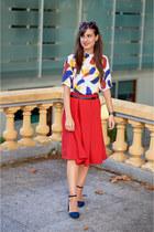 Forever 21 skirt - Mango glasses - Stradivarius heels - Sheinside top