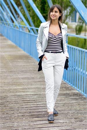 H&M pants - Zara jacket - new look earrings - Mango clogs - H&M top