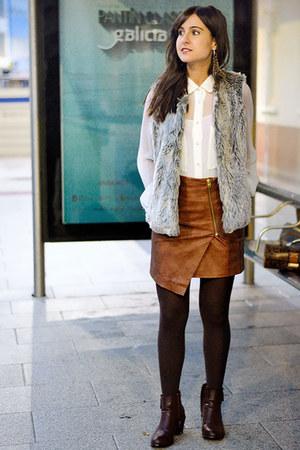 H&M skirt - Mango shirt - suiteblanco vest