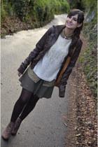 pull&bear jacket - Mary Paz boots - Bershka skirt - Zara cardigan