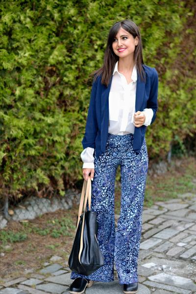 Mango shirt - suiteblanco blazer - Mango bag - Mango flats - Bershka pants