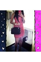 bubble gum bodycon Zara dress - black Chanel bag