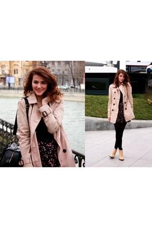 Bershka shirt - camel Zara boots - Stradivarius coat - Pimkie bag