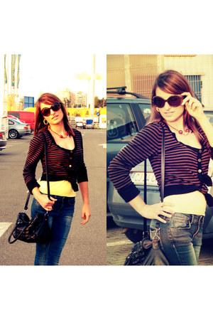 yellow H&M top - blue Zara jeans - striped H&M cardigan