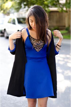black Love Culture coat - blue Charlotte Russe dress