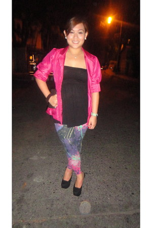 black tube H&M top - deep purple splashed IconiQue leggings