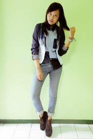 navy patchwork denim Gaudi shirt - black AdorableProject boots