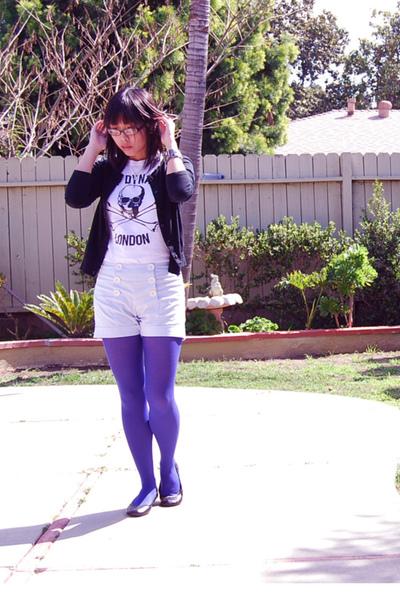 white Sexy Dynamite London shirt - blue shorts - black payless shoes - black For