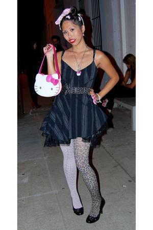 black dress - pink Angelic Pretty accessories - black Forever 21 belt - black We