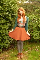 teal modcloth cardigan - burnt orange unknown brand skirt