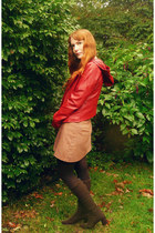 dark brown vintage boots - brick red BB Dakota jacket