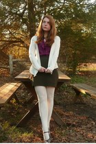 cardigan - blouse - skirt - stockings