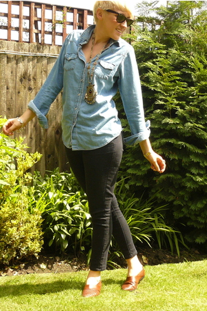 Topshop shirt - Topshop jeans - vintage shoes - vintage necklace - rayban sungla