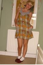 Ruche dress - Ebay socks - vintage shoes