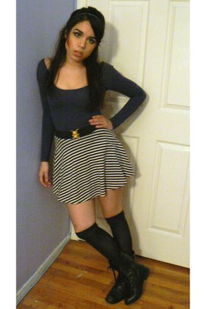 blue American Apparel dress - blue HUE socks - black Forever 21 boots - white Am
