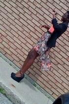 floral mullet Charlotte Russe skirt - black Primark Atmosphere blazer