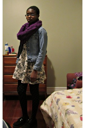 deep purple knit scarf - black creepers streetwear society shoes