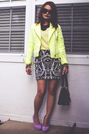 black patent XOXO bag - light yellow moto jacket - black H&amp;M skirt
