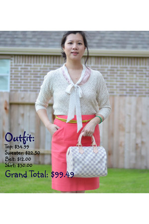 J Crew skirt - Forever21 sweater - Louis Vuitton bag