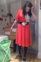 vintage dress - vintage belt - Marks & Spencers tights - Topshop shoes