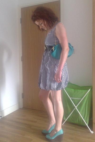 Topshop shoes - white strawberry kats dress - green Aldo bag