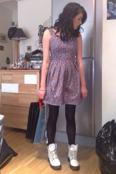 Topshop dress - M&S tights - Dr Martens boots