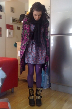 Primark coat - Cant remember scarf - Topshop dress - Topshop tights - Jeffrey Ca