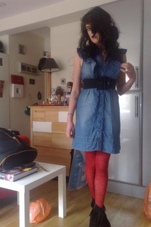 Miss Selfridge dress - belt - topshop tights - Jeffrey Campbell boots