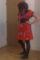 vintage dress - Topshop belt - M&S tights - Melissa shoes