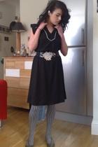 vintage dress - vintage belt - wolfords tights - Melissa shoes
