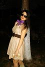 Leather-beige-dress-purple-silk-scarf