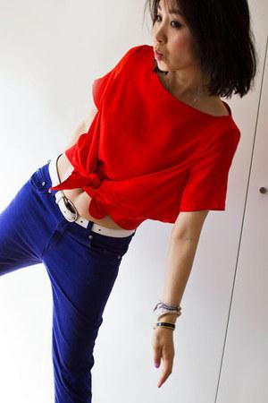 silk Christopher Esber top - denim Random from Korea jeans