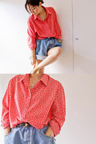 silk polka dot vintage shirt - vintage shorts