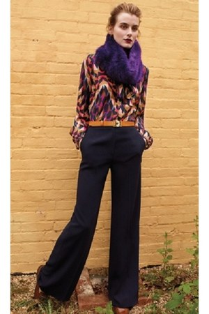 kaleidoskope warehouse shirt - faux fur warehouse scarf - warehouse pants