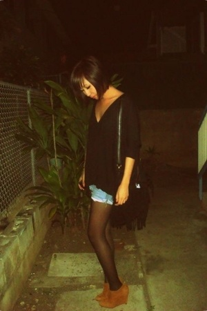black t-shirt - brown Colin Stuart shoes - blue DIY shorts