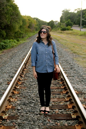 denim Levis shirt - tortoise Anthropologie sunglasses