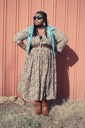 nude thrifted dress - bronze boots - blue vest