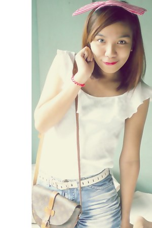 landmark accessories - white top - white divisoria belt - sky blue - thrifted sh