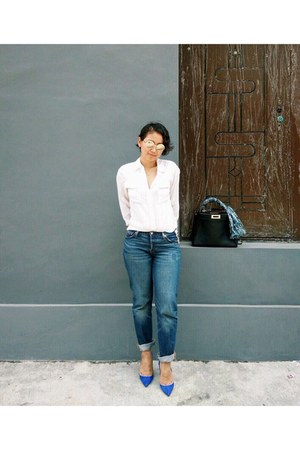 blue suede Christian Louboutin heels - navy 501 Levis jeans - white silk shirt