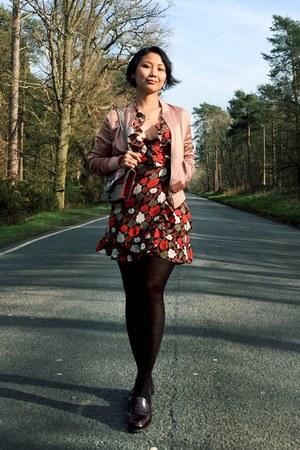 pink bomber jacket - ruby red tea dress Topshop dress - pink dionysus Gucci bag