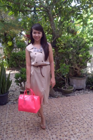 Furla bag - Heatwave shoes - Burberry dress - Mango belt