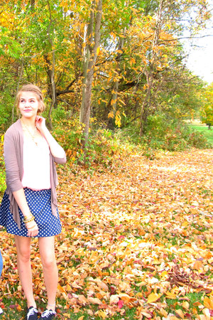 navy handmade skirt - brown TJ Maxx cardigan - light pink TJ Maxx blouse