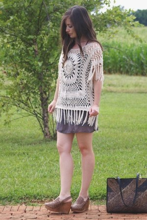 grey thrifted dress - top - wedges - woven leather Fiel wedges