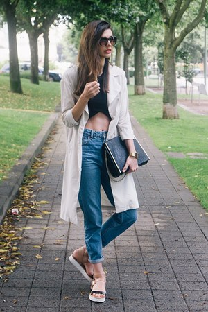off white H&M coat - blue denim Topshop jeans - black Zara top