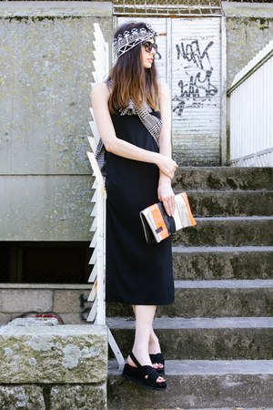 black Zara dress - white H&M shirt - coral Maria Maleta designed by me bag