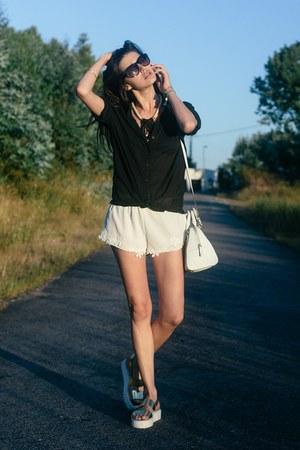 off white Zara shorts - gold Eureka Shoes sandals