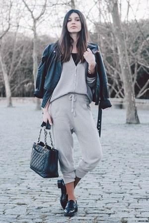tan Stefanel pants - black Zara jacket - tan Stefanel cardigan