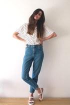 white Zara shirt - blue Topshop jeans - white blink sandals